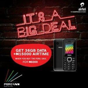#6000 Fero 1801 Phone Gives Free 36GB Data + 15000 Airtime To Airtel Sims